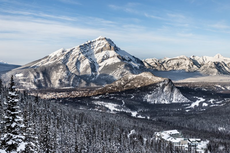 View of Cascade Mountain and Banff townsite from Sulphur Mountain.