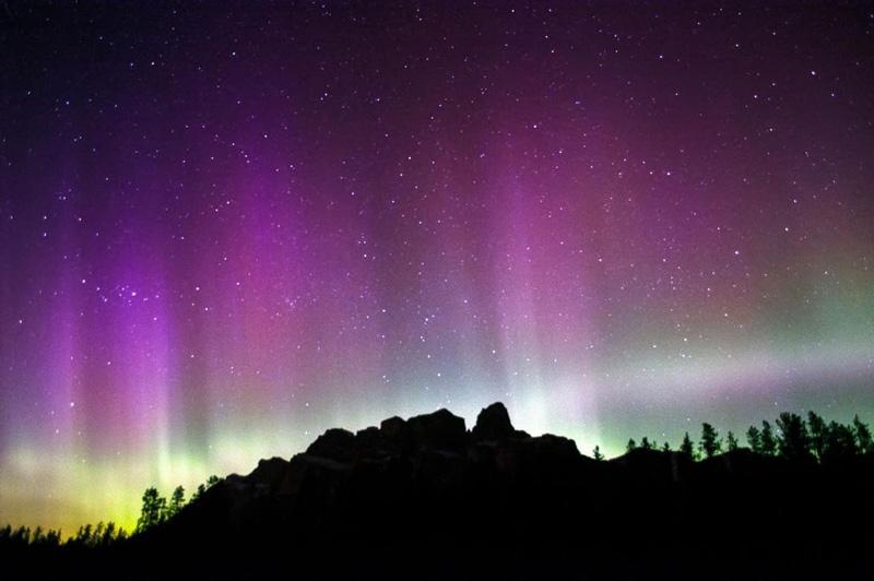 Northern lights over Castle Mountain, Banff National Park.