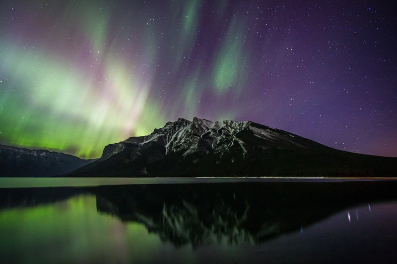 Northern lights at Lake Minnewanka, Banff National Park.
