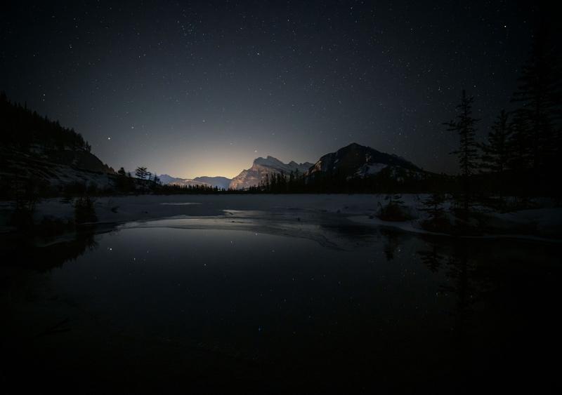 Night skies at Vermillion Lakes, Banff National Park.