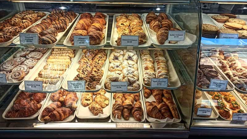 Display of pastires at Laggan's Bakery in Lake Louise, Banff National Park.