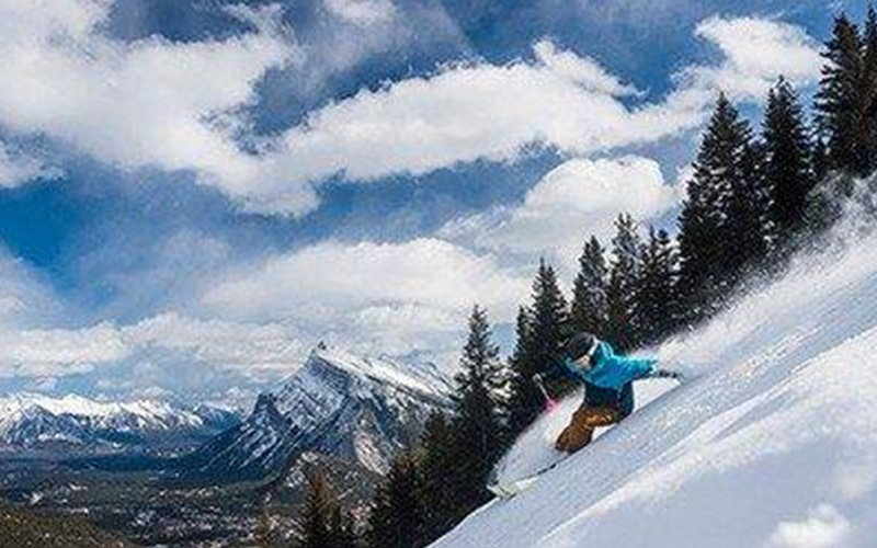 Skiing the North American Chair at Norquay