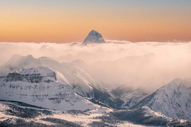 Mt. Assiniboine seen from Banff Sunshine Village in Banff National Park.