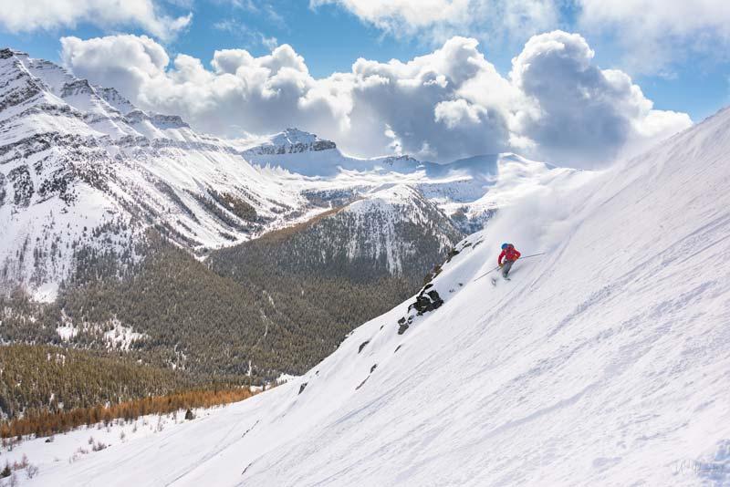 Daniel Thomson skiing in ER3 at Lake Louise Ski Resort.