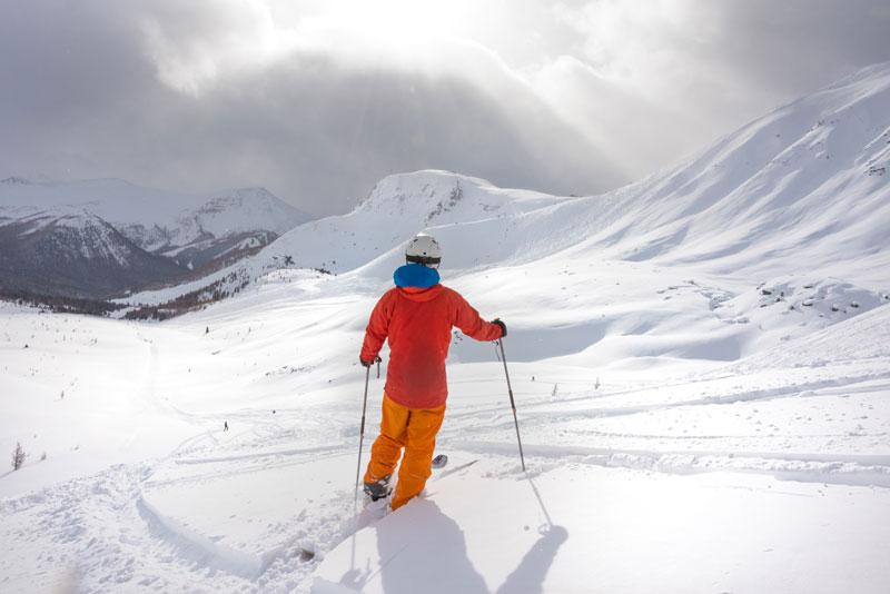 Skier at Lake Louise Ski Resort in Banff National Park.