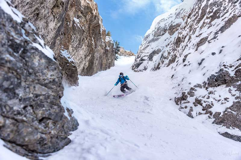 Shannon Martin skiing Wild West freeride terrain at Banff Sunshine Village. Photo by Will Lambert.