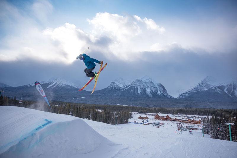 Skier in terrain park at Lake Louise Ski Resort in Banff National Park.