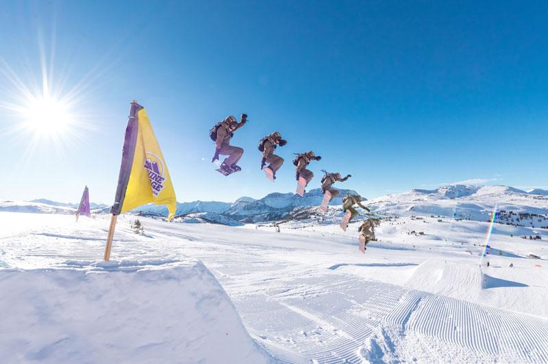 Snowboarder in Divide Park at Banff Sunshine Village in Banff National Park.