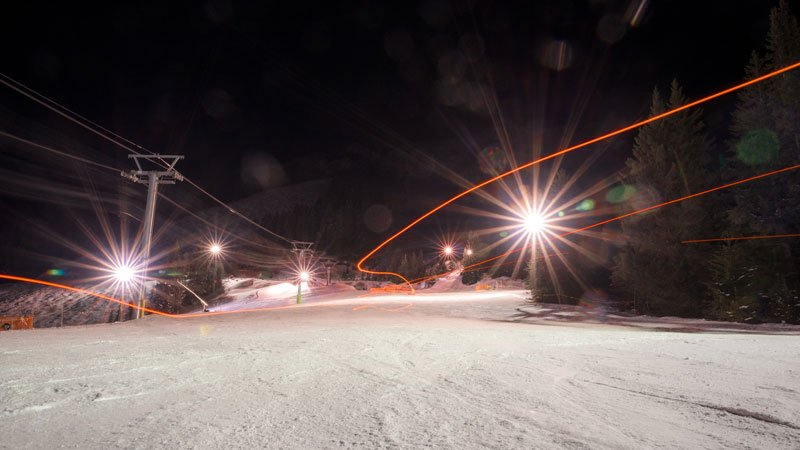 Night skiing at Mt. Norquay in Banff National Park.