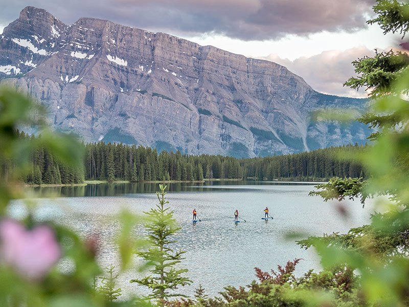 Early morning paddle on Two Jack Lake, photo by Will Lambert.