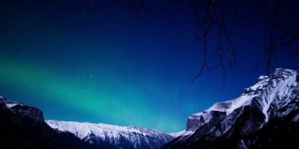 Northern Lights over Lake Minnewanka, Banff National Park.