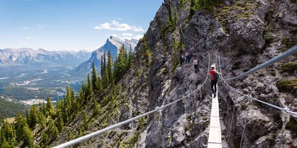 Mt. Norquay's Via Ferrata|Safely Guided Experience|The perfect route for your level|Scenic North American Chair|panoramic views of the Bow Valley|Big Horn Sheep|||||
